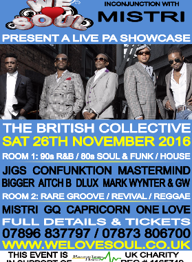 WE LOVE SOUL – 26th Nov –  ft British Collective